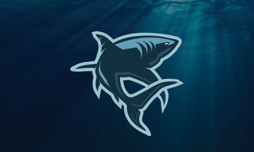 swimming shark logo